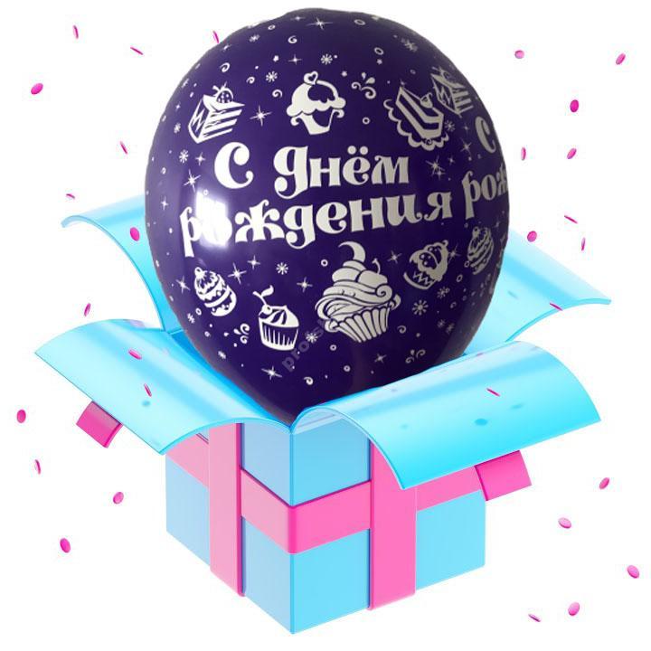 Шар фиолетовый «С днем рождения»