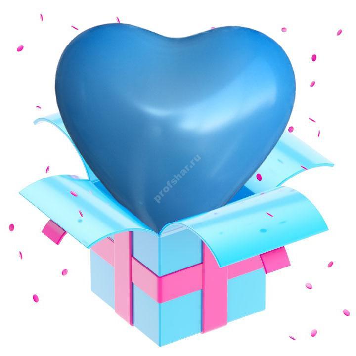 Шар голубой в форме сердца