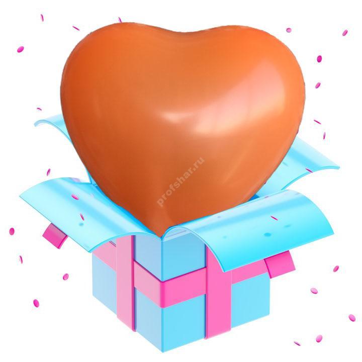 Шар оранжевый в форме сердца