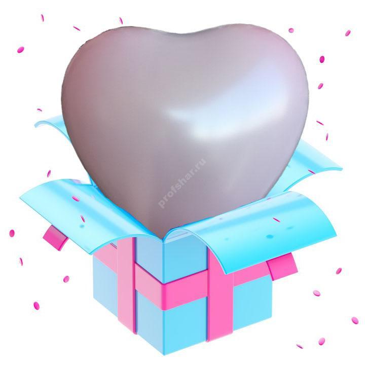 Шар розовый в форме сердца