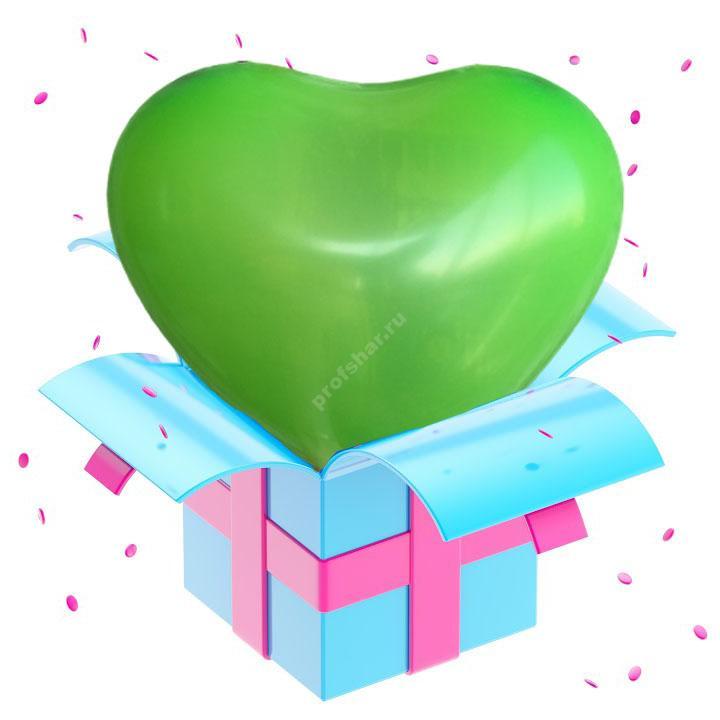 Шар зеленый в форме сердца