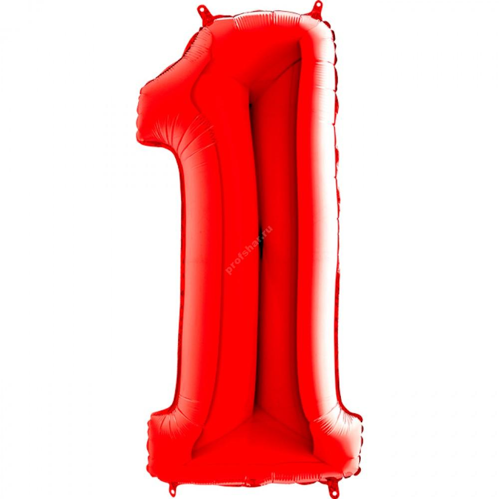 Фольгированная цифра красная «один»