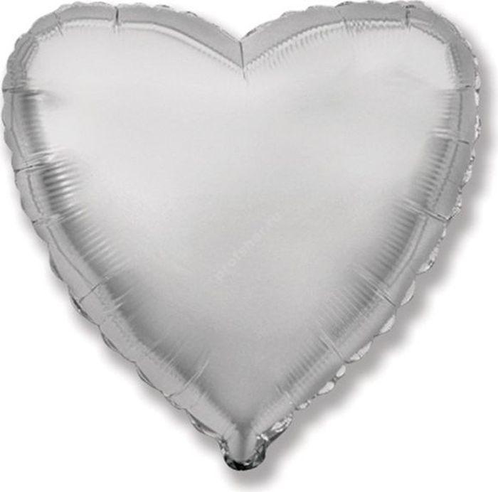 Шар фольгированный сердце цвет серебро