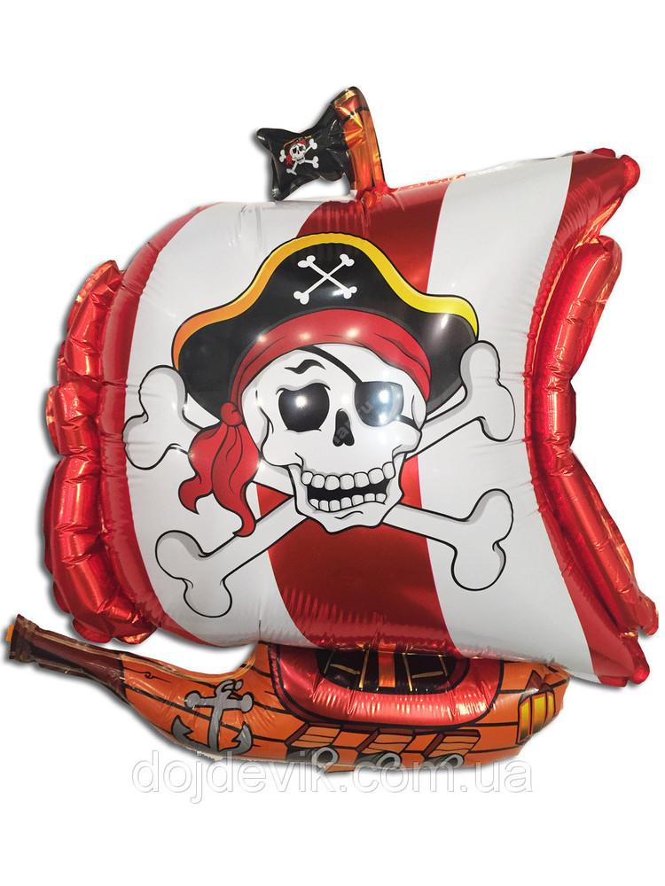 Фольгированный шар «Пиратский корабль Череп» цвет белый