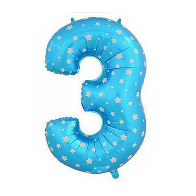 Фольгированная цифра голубая с белыми звездами «три»