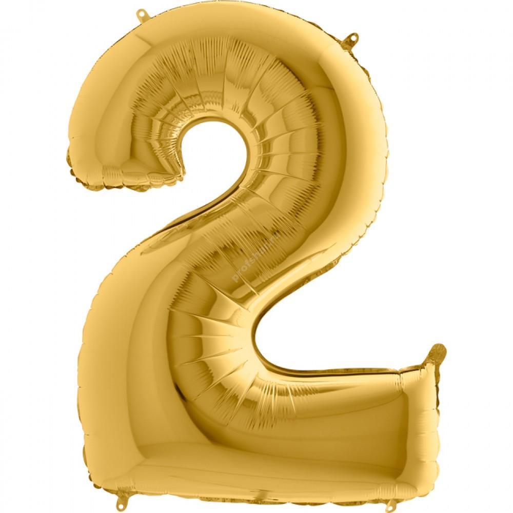 Фольгированная цифра золотая «два»