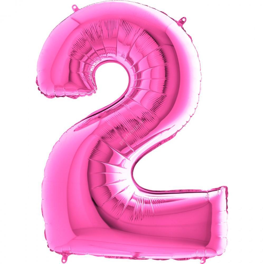 Фольгированная цифра розовая «два»