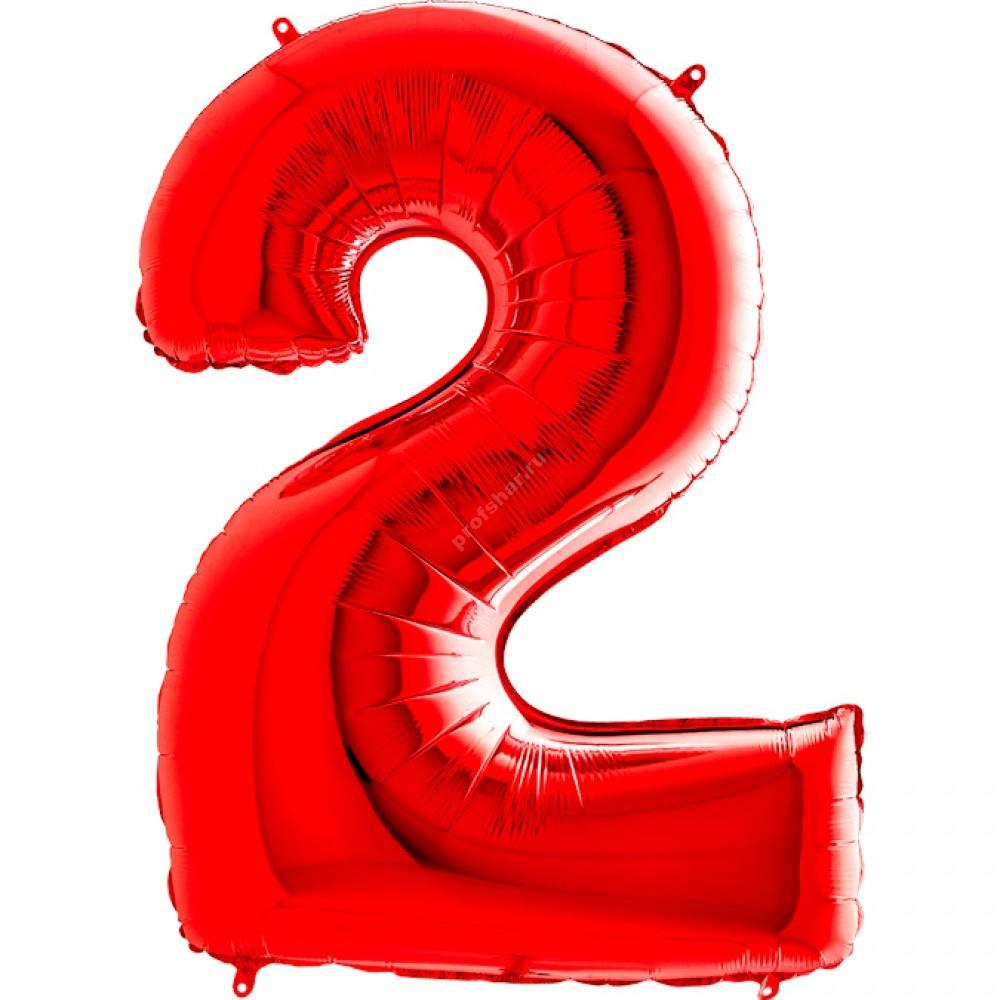 Фольгированная цифра красная «два»