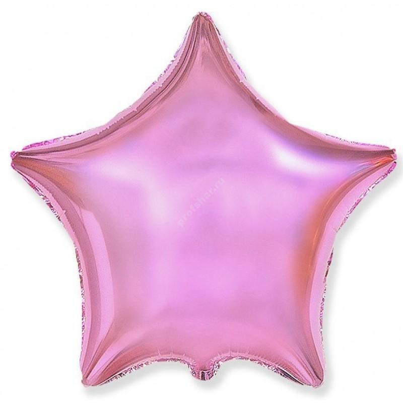 Шар фольгированный звезда цвет розовый