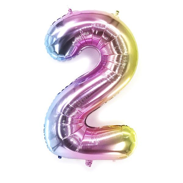 Фольгированная цифра радужная «два»