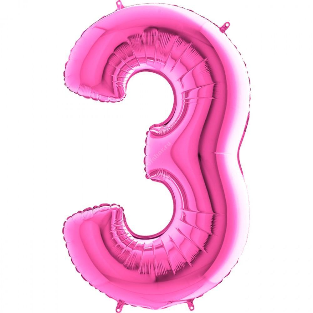 Фольгированная цифра розовая «три»