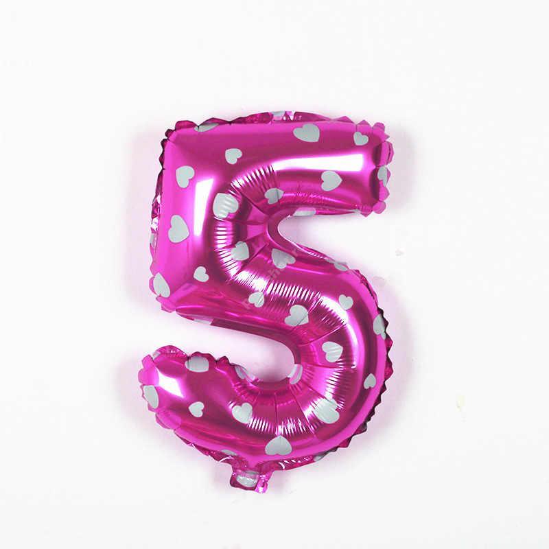 Фольгированная цифра розовая с белым сердечком «пять»