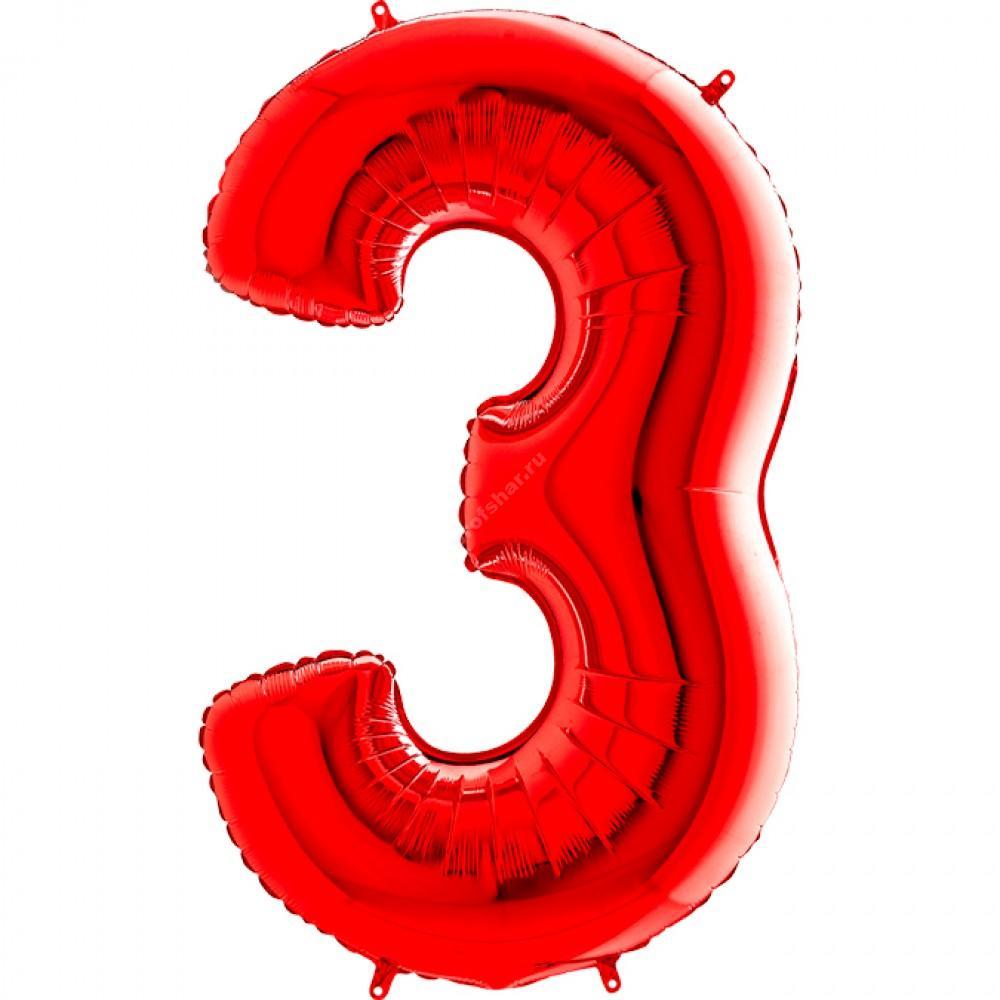 Фольгированная цифра красная «три»