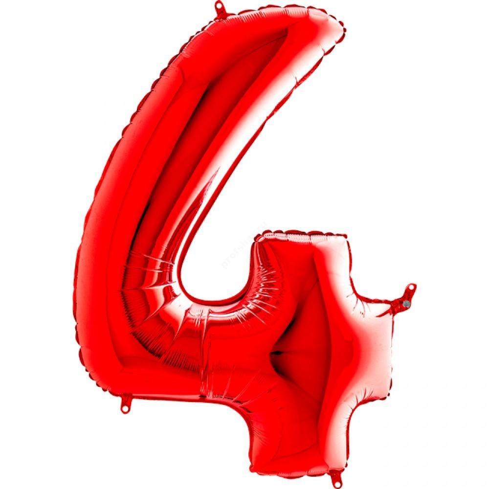 Фольгированная цифра красная «четыре»