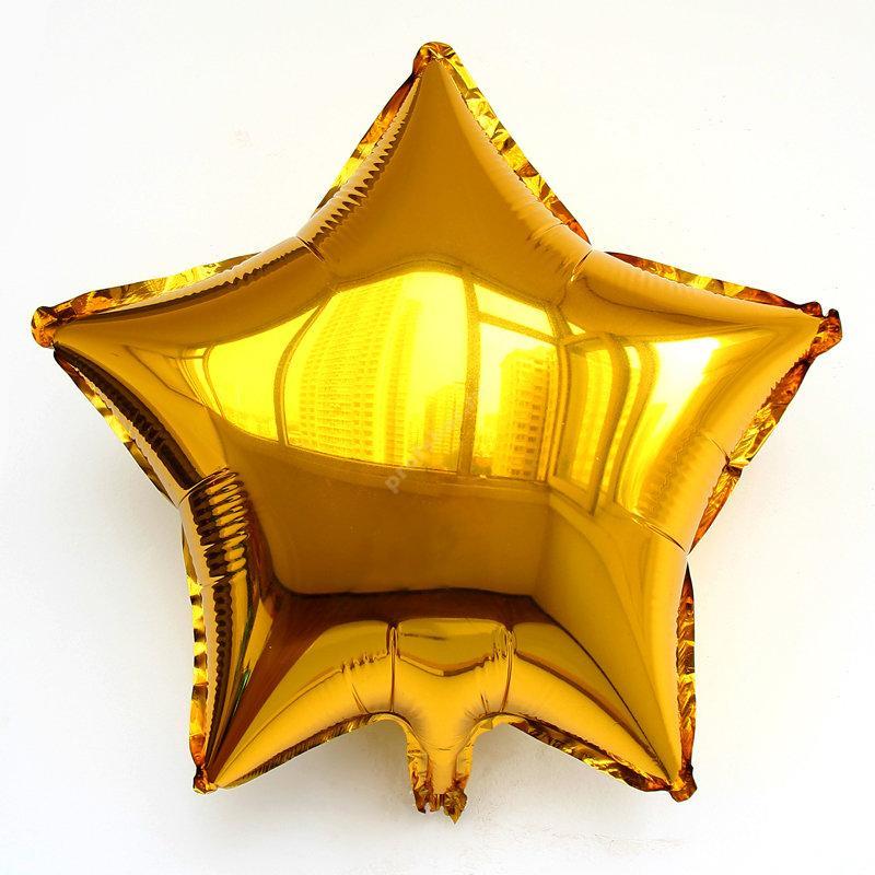 Шар фольгированный звезда цвет золотой