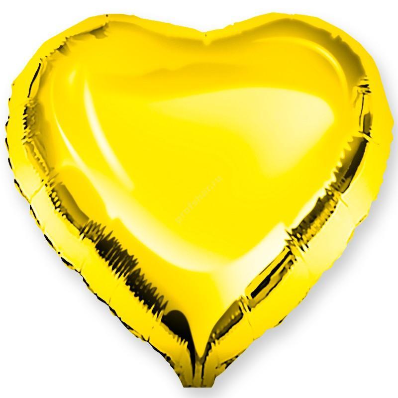 Шар фольгированный сердце цвет золотой