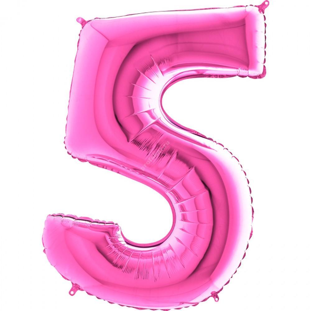 Фольгированная цифра розовая «пять»