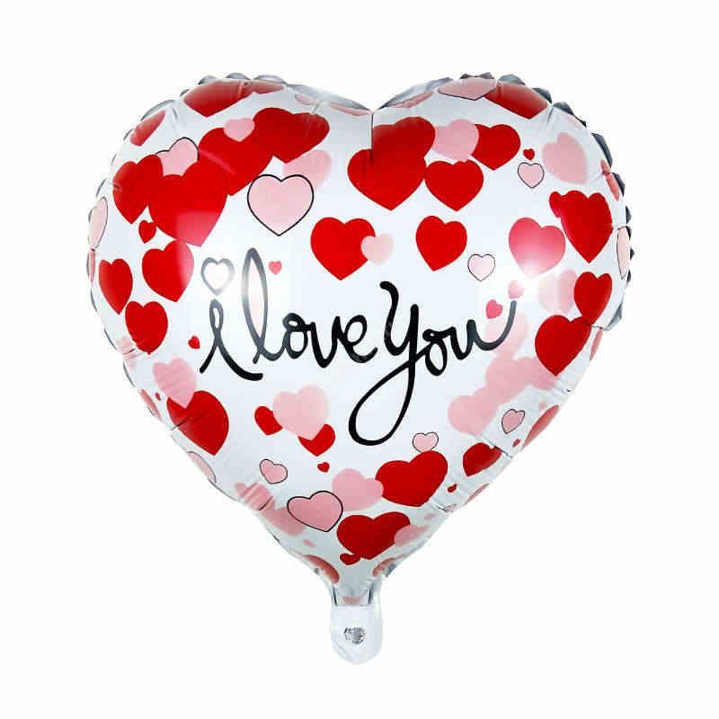 Шар фольгированный сердце цвет розовый с надписью «I love you»