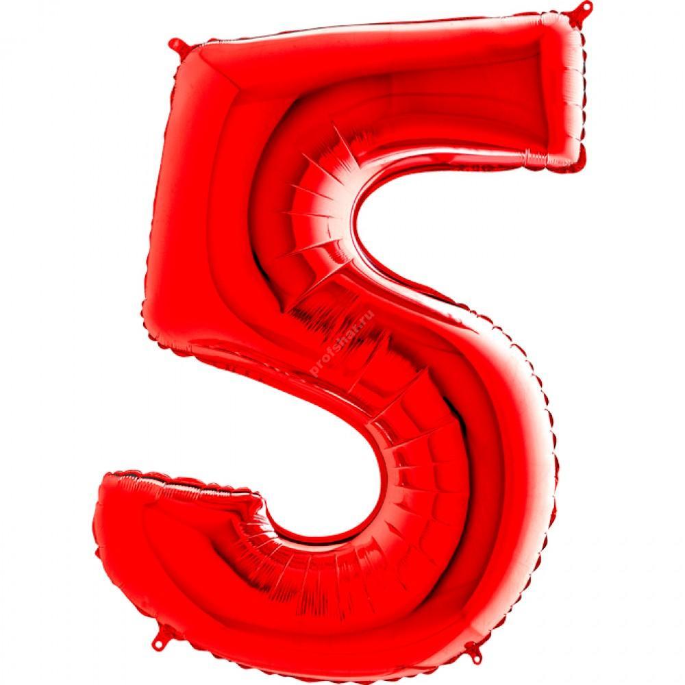 Фольгированная цифра красная «пять»