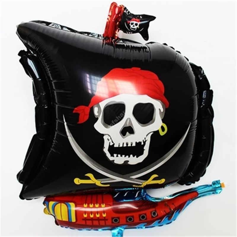 Фольгированный шар «Пиратский корабль Череп» цвет черный