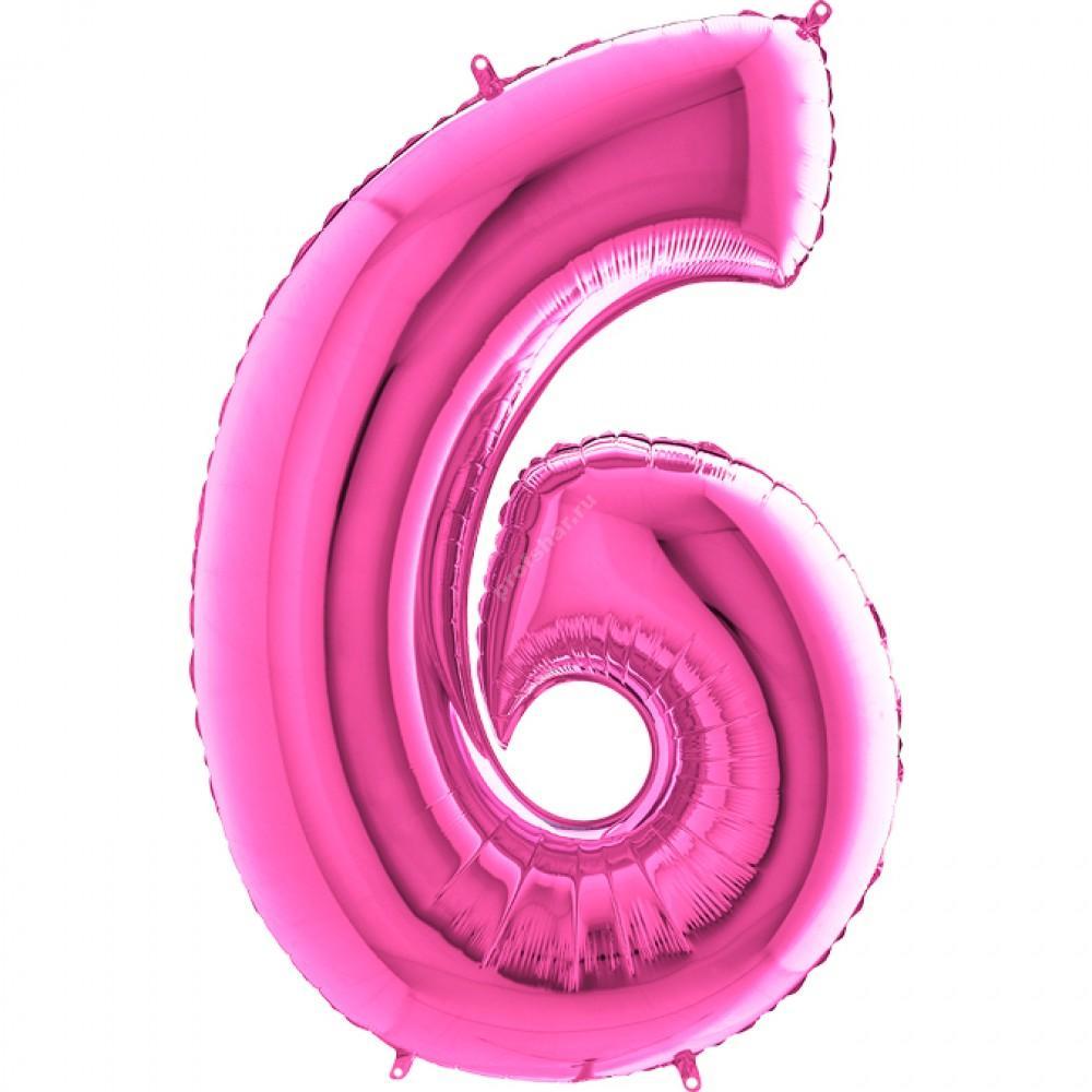 Фольгированная цифра розовая «шесть»