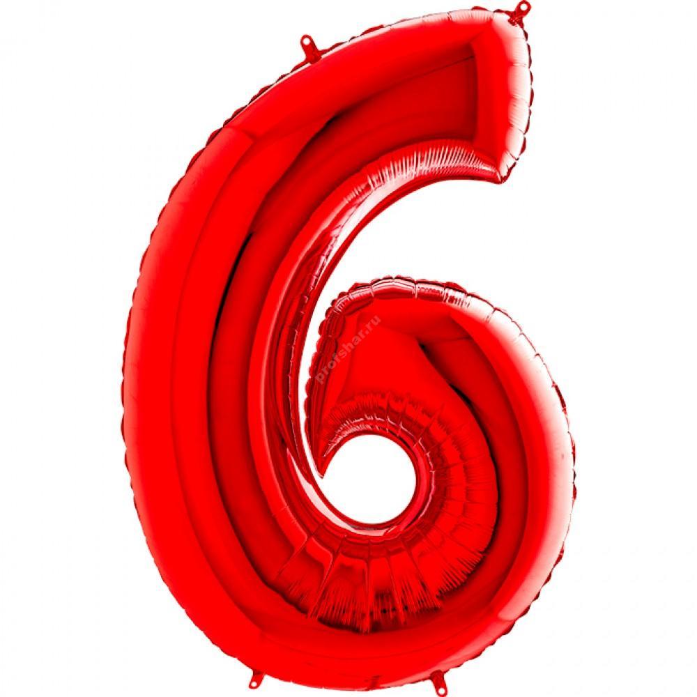 Фольгированная цифра красная «шесть»