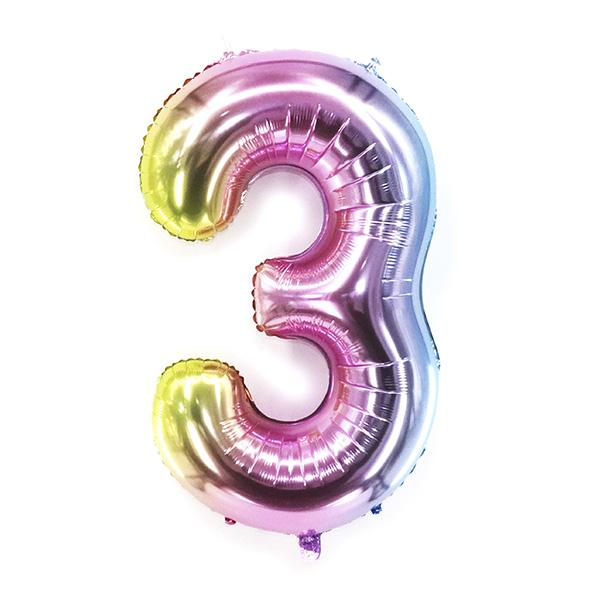 Фольгированная цифра радужная «три»