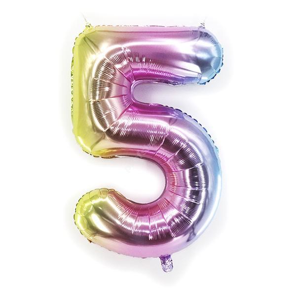 Фольгированная цифра радужная «пять»