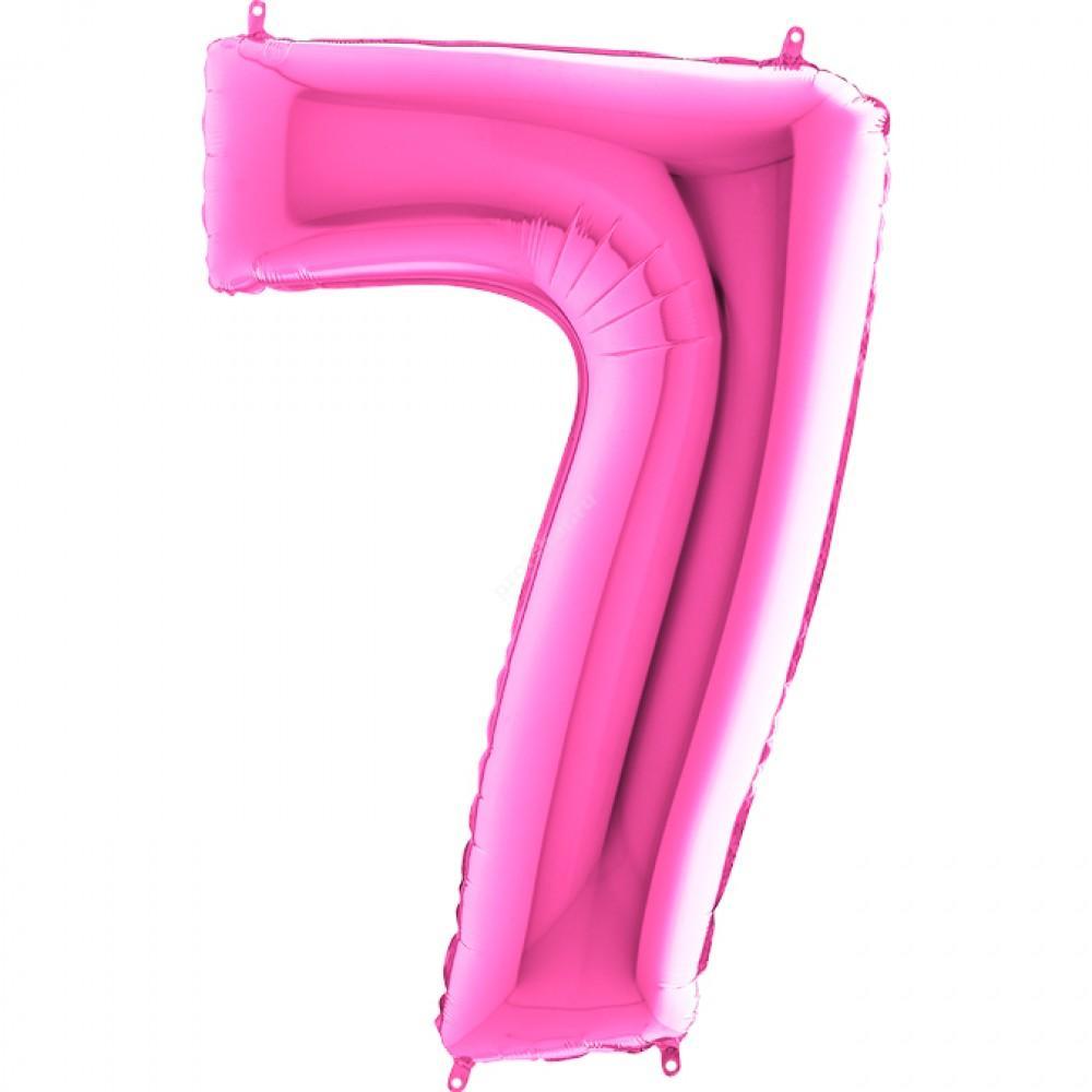 Фольгированная цифра розовая «семь»