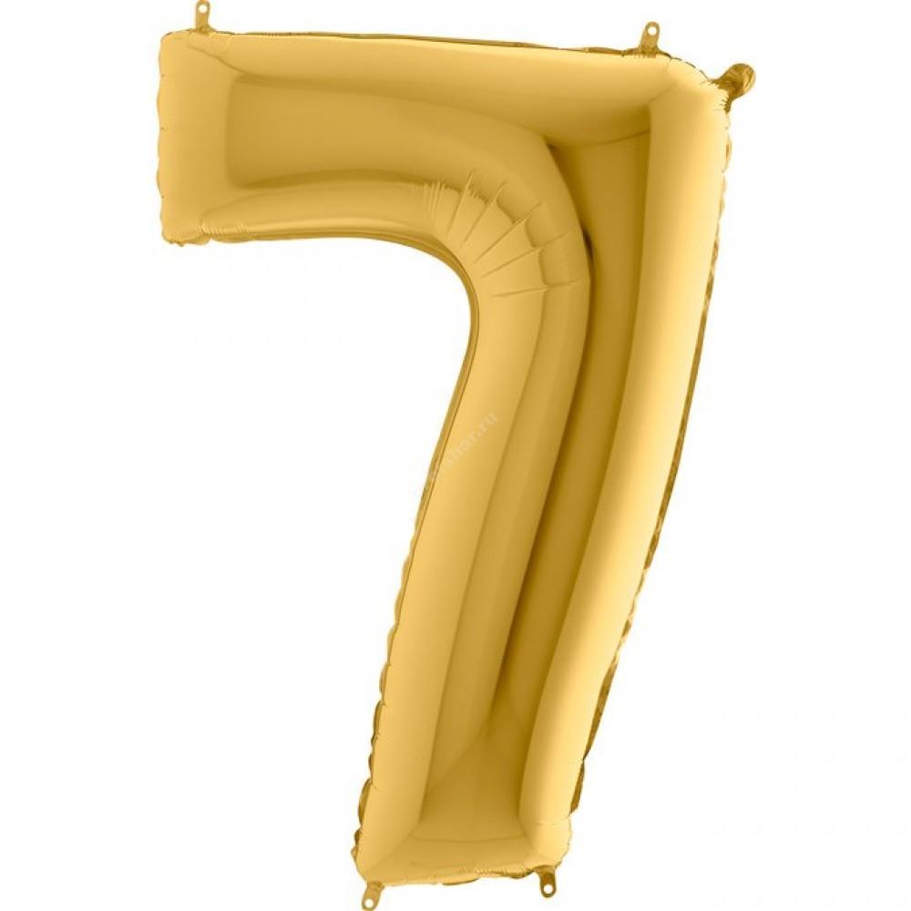 Фольгированная цифра золотая «семь»