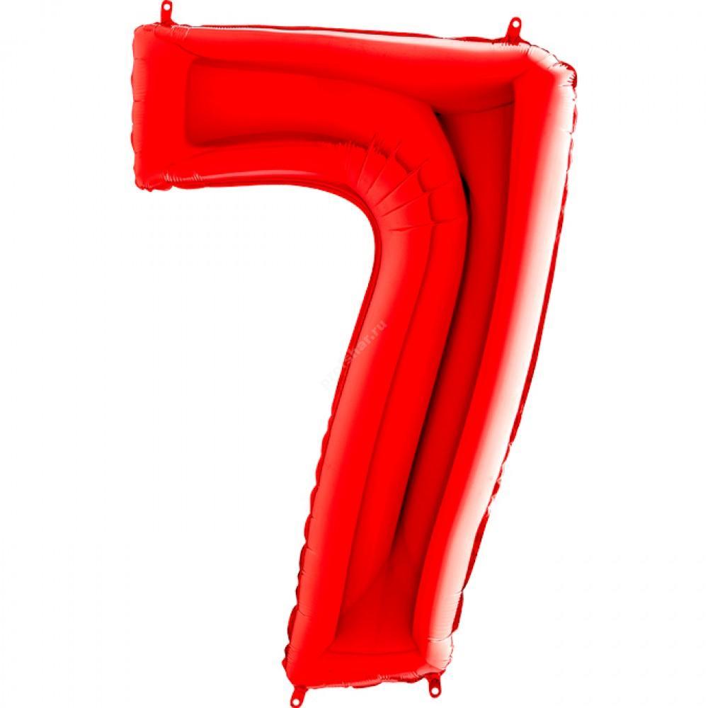 Фольгированная цифра красная «семь»