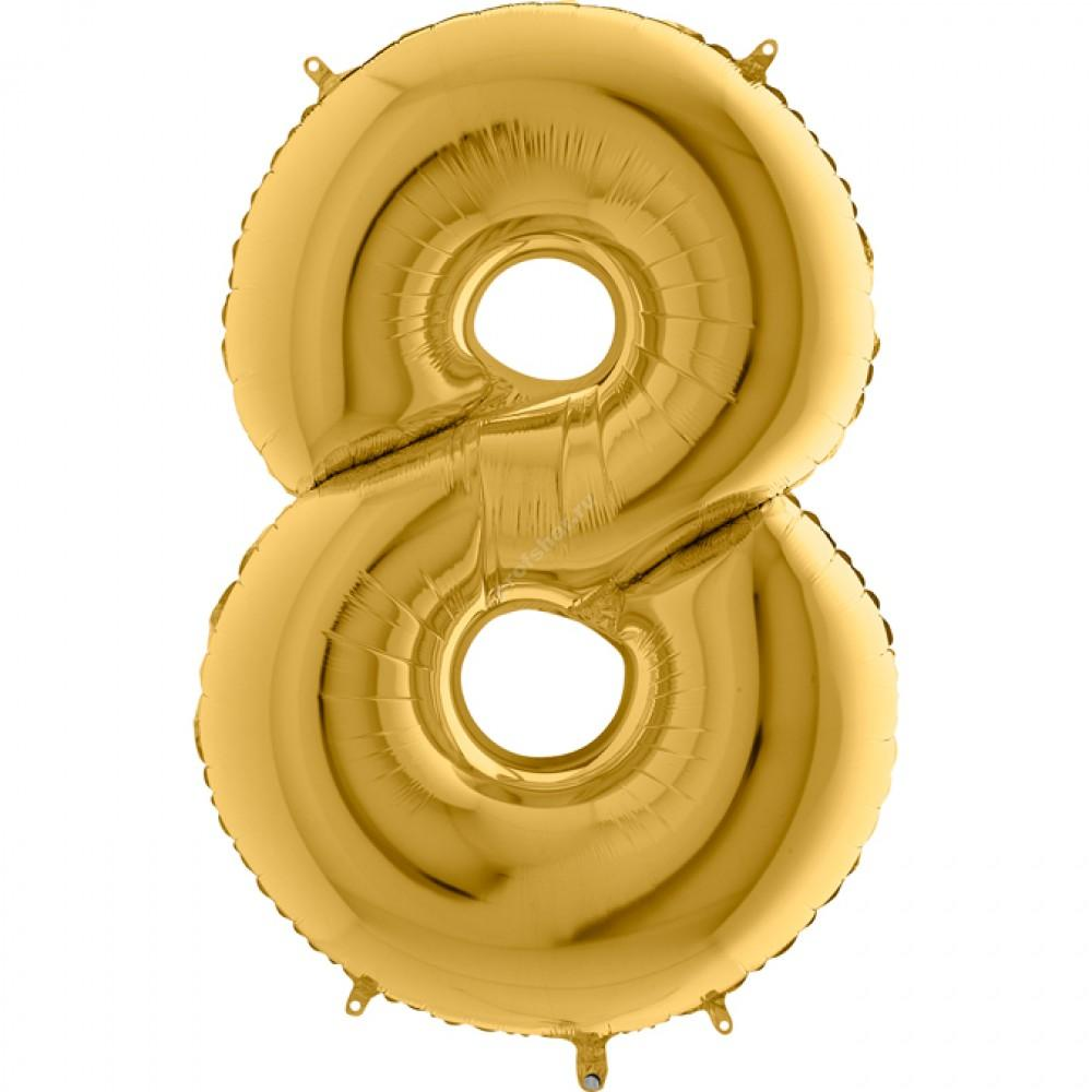 Фольгированная цифра золотая «восемь»