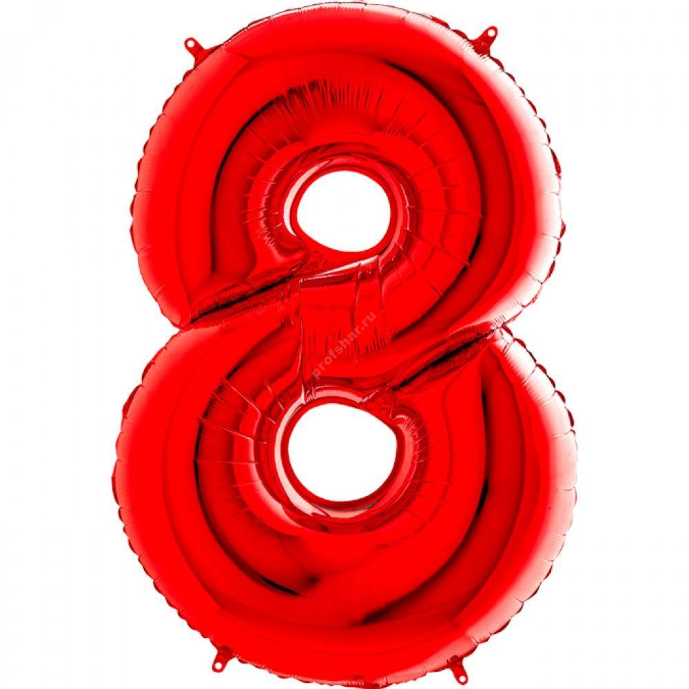 Фольгированная цифра красная «восемь»