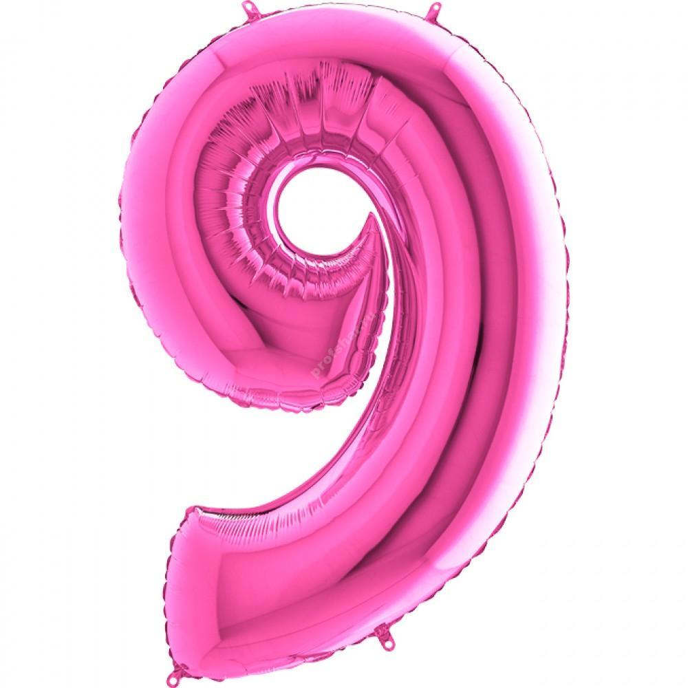 Фольгированная цифра розовая «девять»