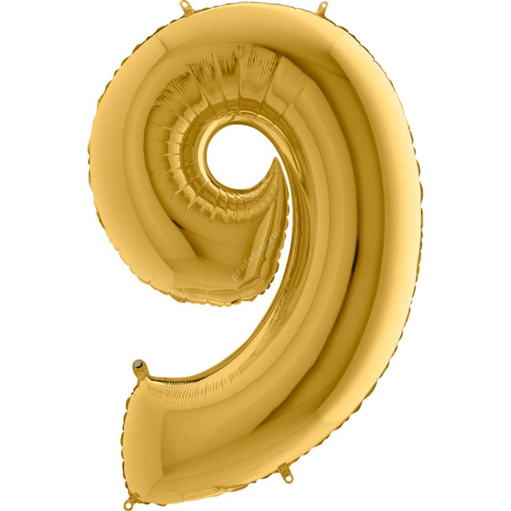 Фольгированная цифра золотая «девять»