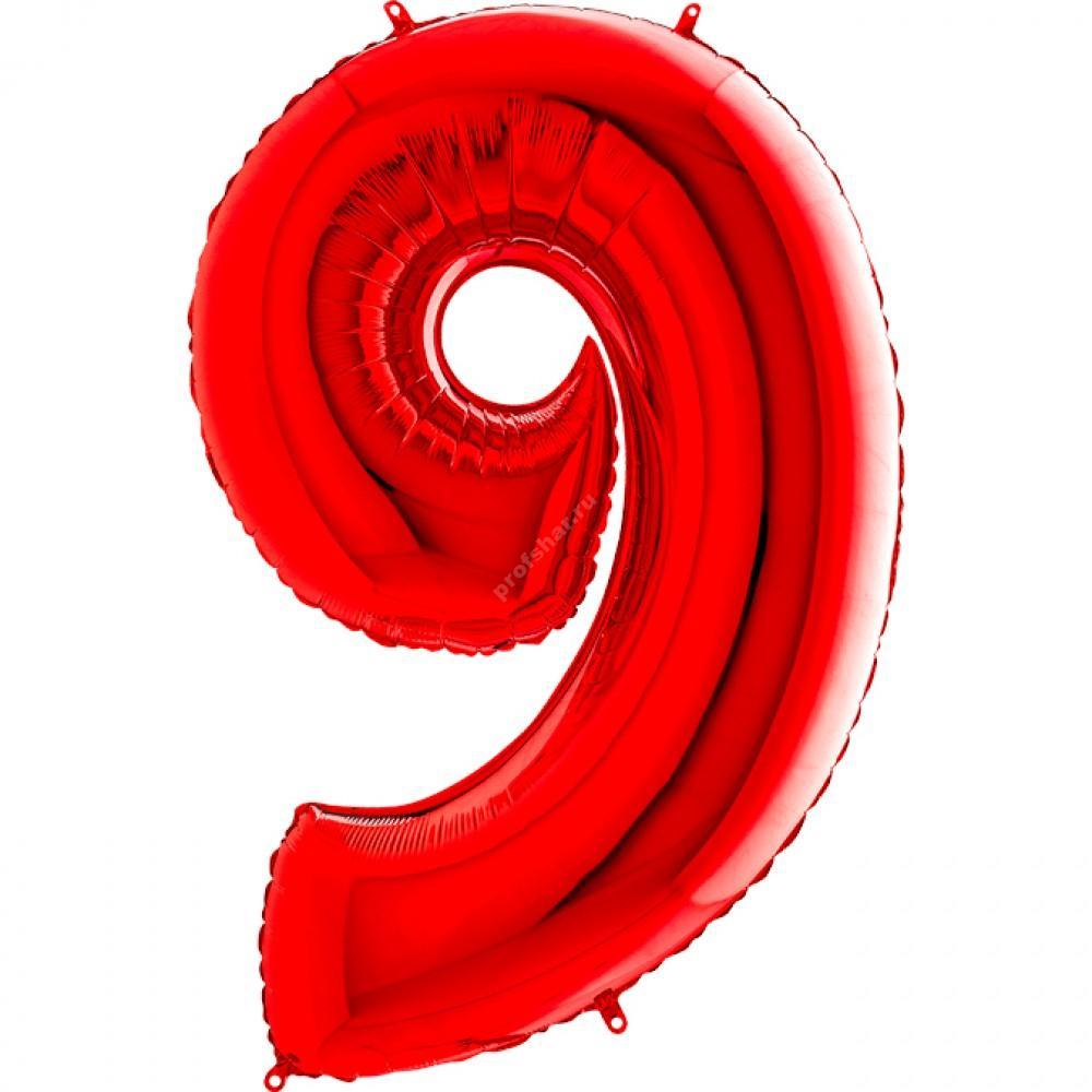 Фольгированная цифра красная «девять»