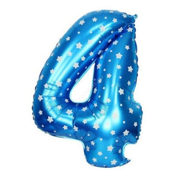 Фольгированная цифра голубая с белыми звездами «четыре»