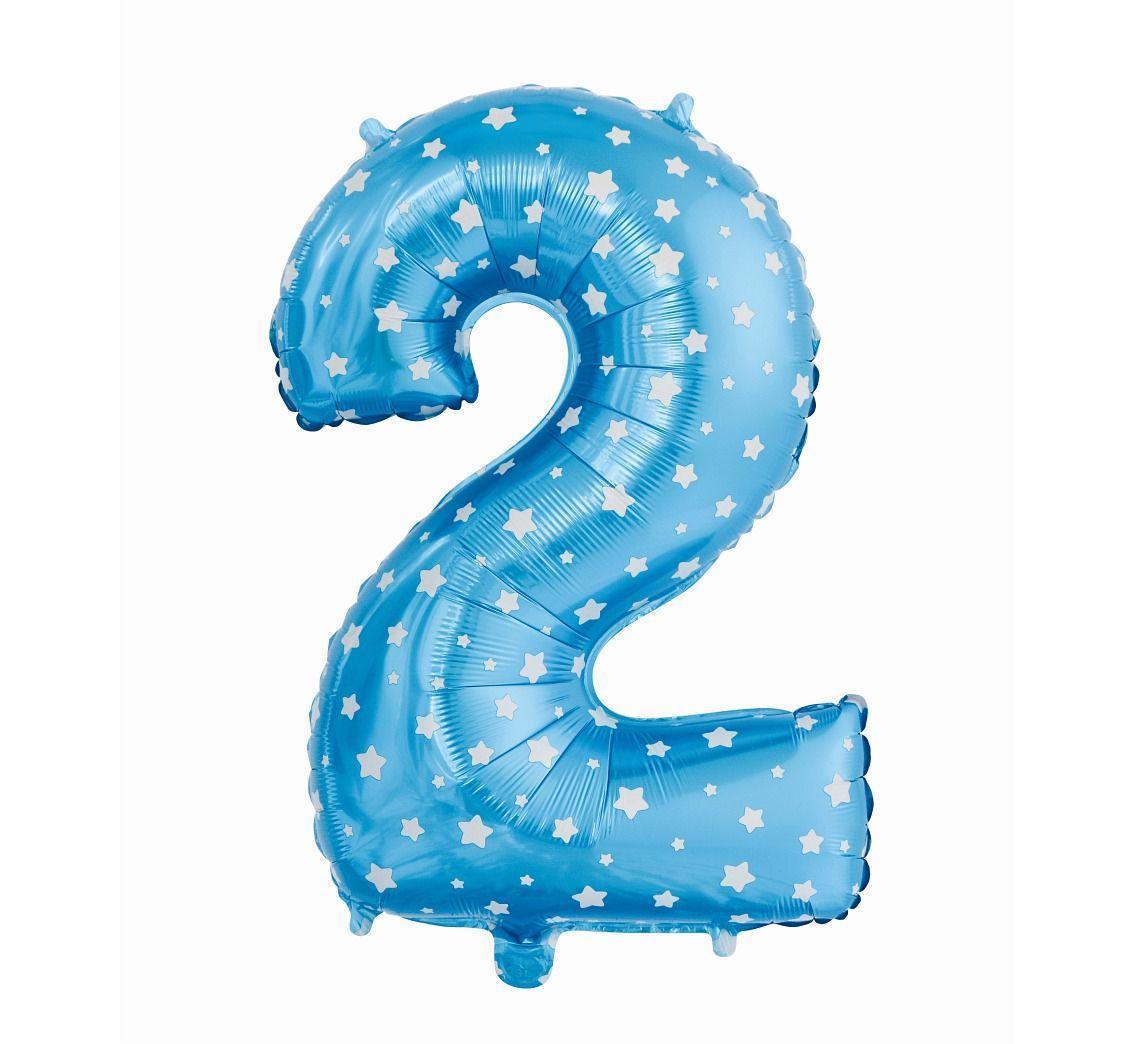 Фольгированная цифра голубая с белыми звездами «два»