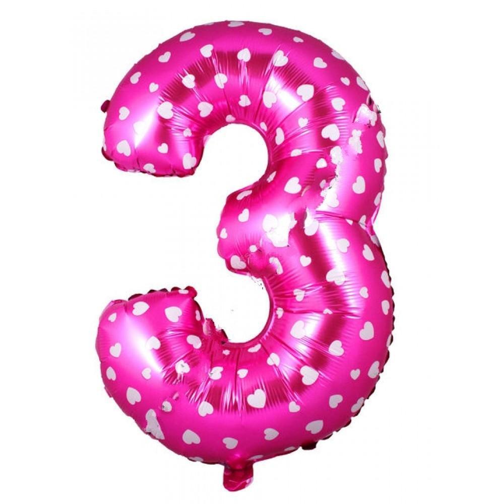 Фольгированная цифра розовая с белым сердечком «три»