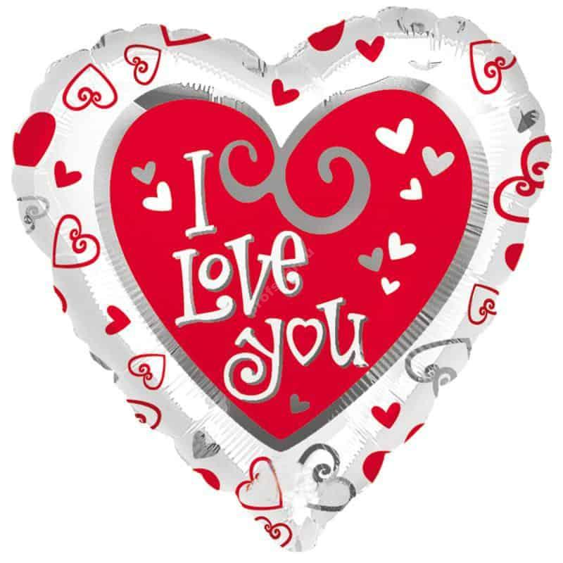 Шар фольгированный сердце цвет белый с надписью «I love you»
