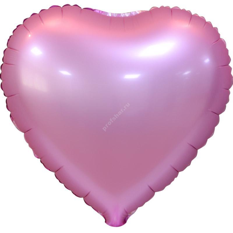 Шар фольгированный сердце цвет нежно-розовый
