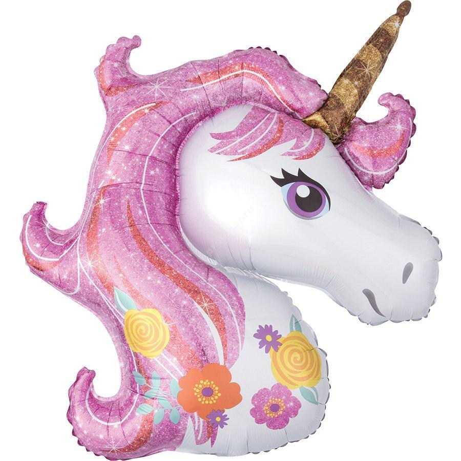Шар фольгированный нежно-розовый «Единорог»