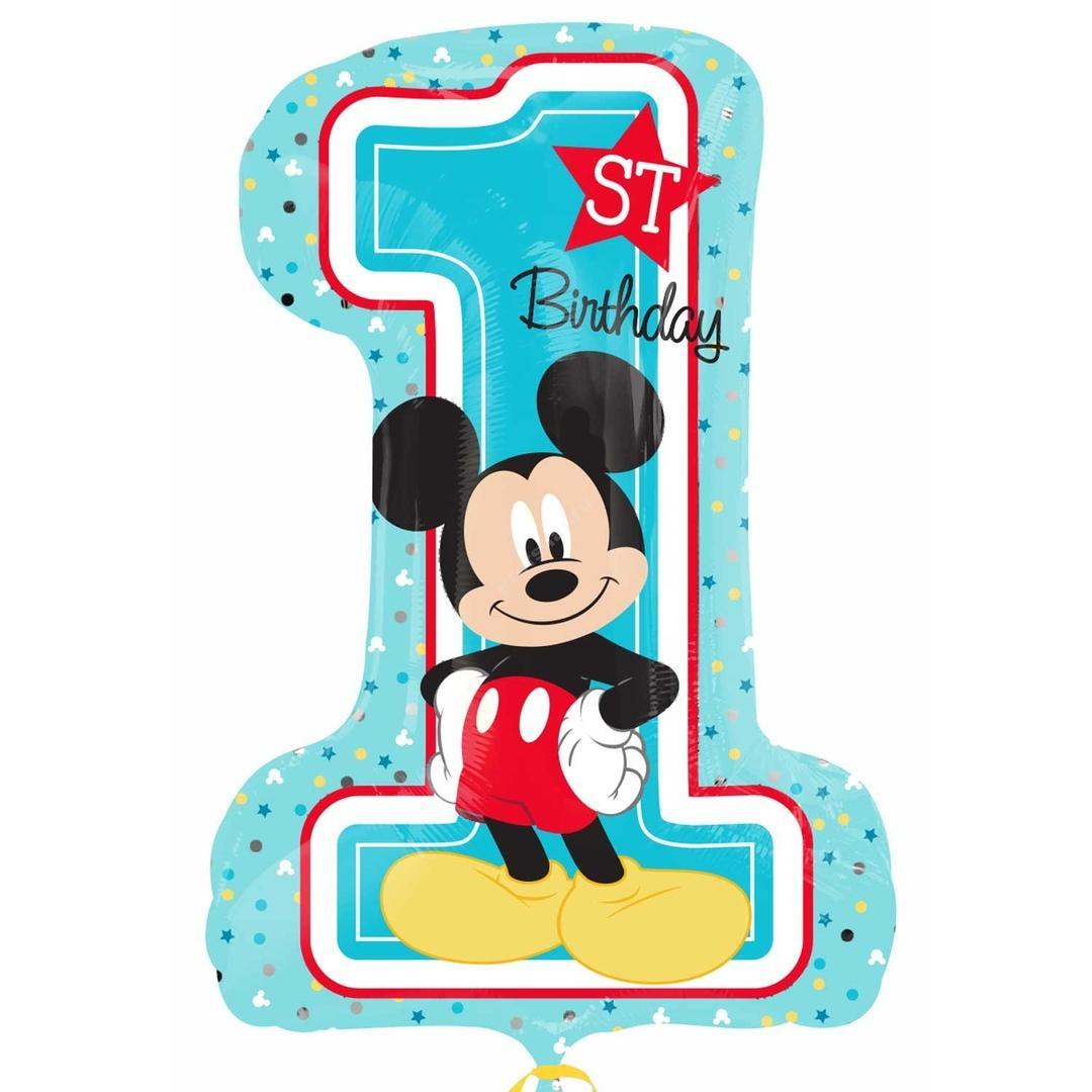 Фольгированная цифра с рисунком Микки Маус «один» цвет голубой