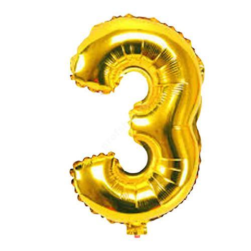 Фольгированная цифра золотая «три»