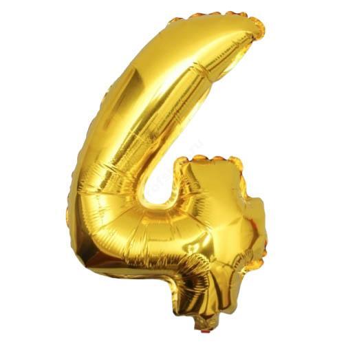 Фольгированная цифра золотая «четыре»