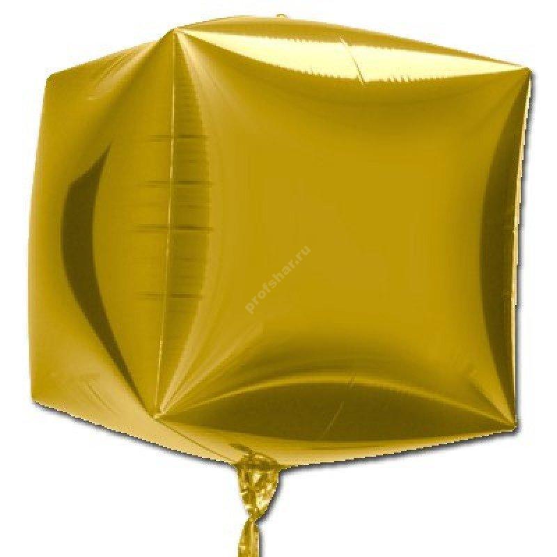 Фольгированный шар кубик золотой
