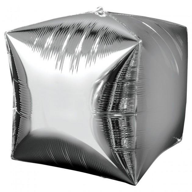 Фольгированный шар кубик серебро