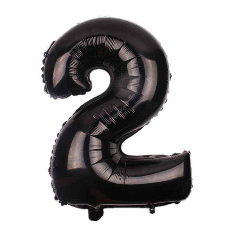 Фольгированная цифра черная «два»