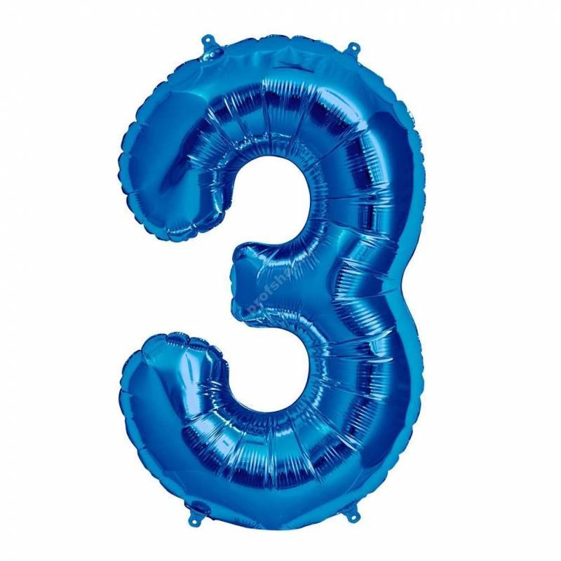 Фольгированная цифра голубая «три»