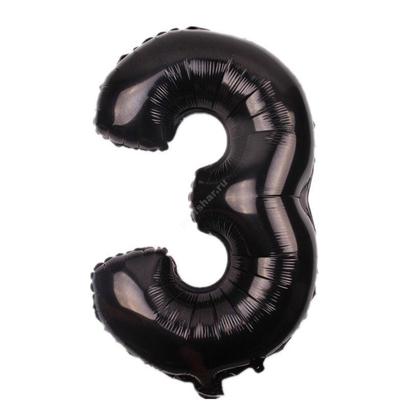 Фольгированная цифра черная «три»